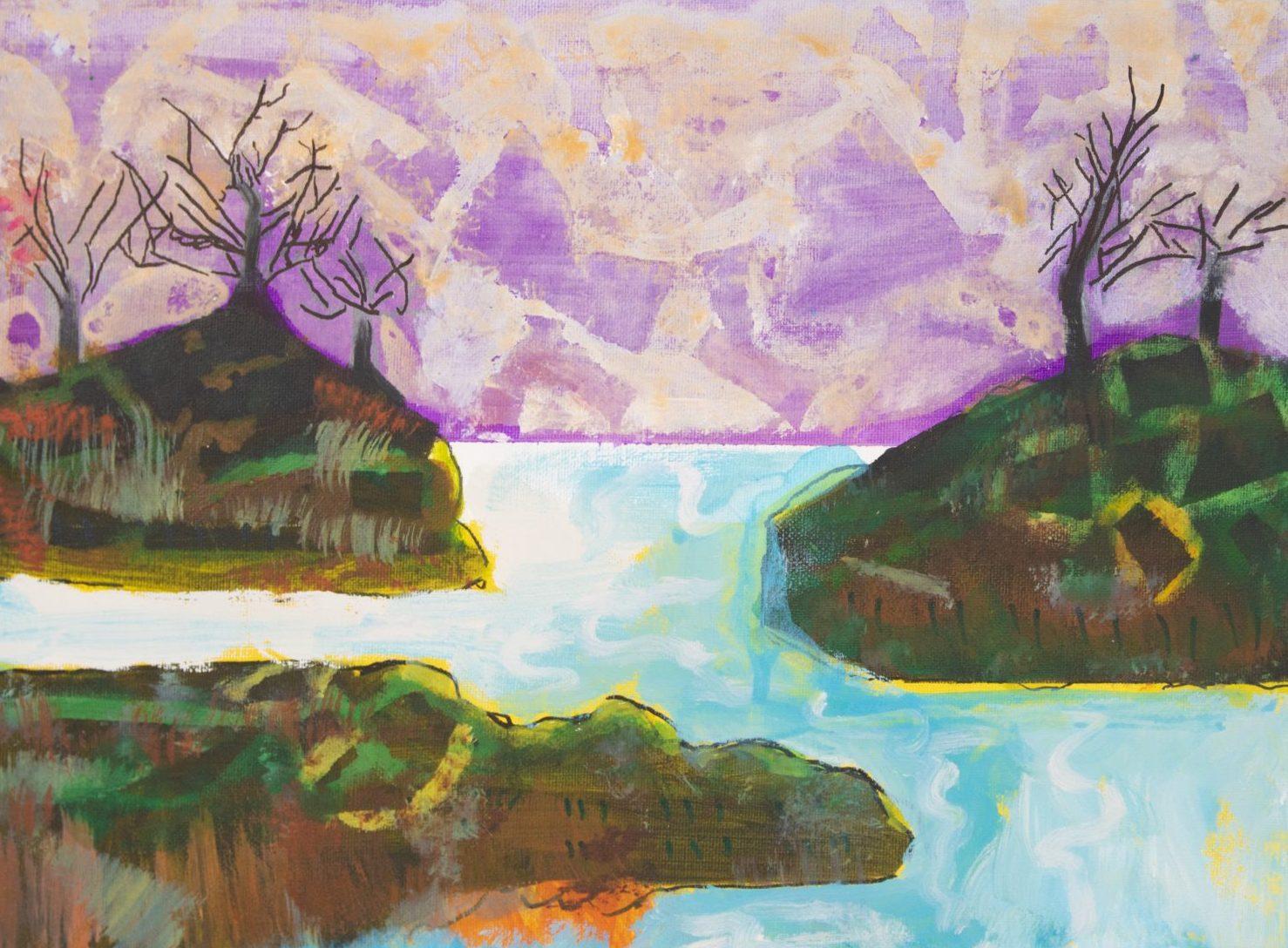 Islands with Purple Sky