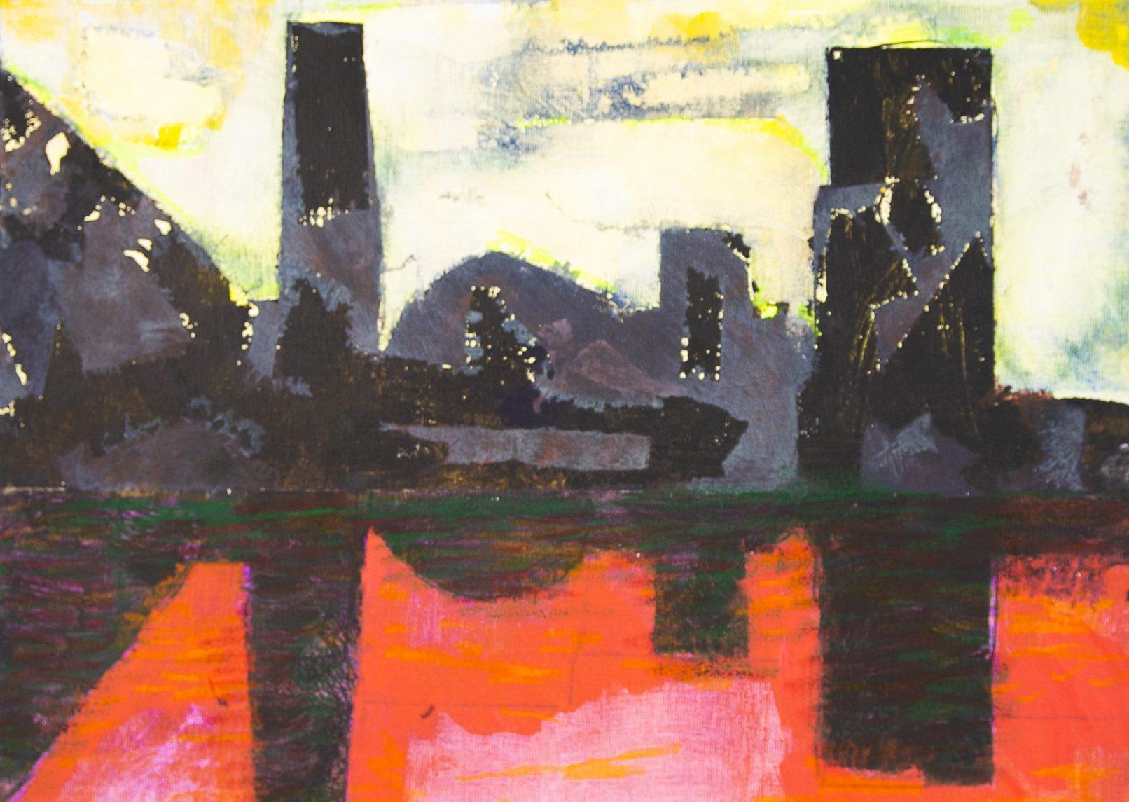 Dark Buildings with Orange Reflected Sky